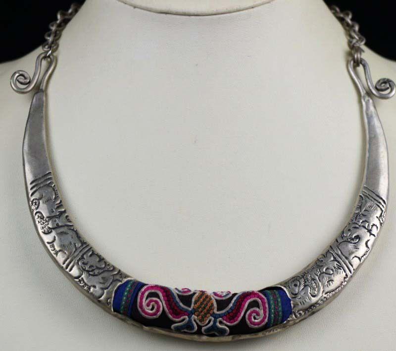 Племенной Экзотический китайский меньшинств старый ручная вышивка Мяо серебряное ожерелье