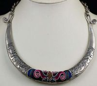 Tribal exotic chinese minority people's old hand embroidery miao silver necklace