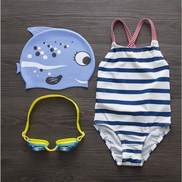 dc731150c3 Best Offers New Children s Navy Striped Cute Girl Conjoined Fast Drying  Baby Girl Swimwear For 1