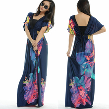Casual Dresses Print Maternity Dresses High Street  V-Neck Floral Printing Bohemia Long Beach Women Dress 2017 Plus Size M-5XL