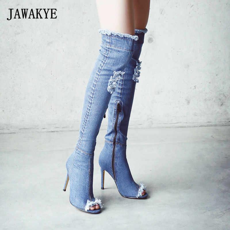 JAWAKY mavi denim çizmeler diz üzerinde uyluk yüksek çizmeler yaz diz yüksek çizmeler kadınlar için yüksek topuklu kadın ayakkabı püskül kot çizme