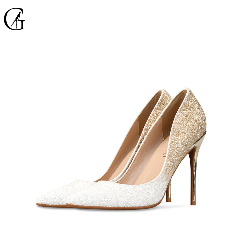 GOXEOU 2019 Women Pumps size 32 46 Thin Heel High Heels Sexy Pointed Toe Slip On Bling Wedding Office Handmade  Free Shipping-in Women's Pumps from Shoes    3