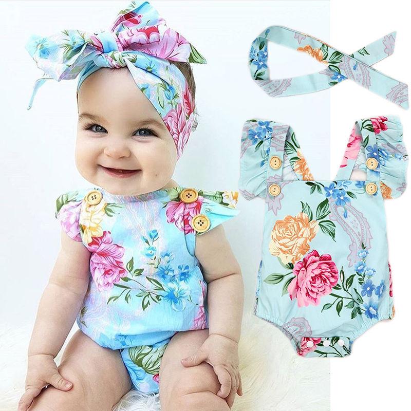 Newborn Baby Girls Cute Flower Print Buttons Ruffles Romper Bodysuit with Headband