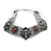 New Hot Fashion Lion Necklace 2016 Women Turquoise Gold Silver Statement Choker Collier Femme Collar Necklace