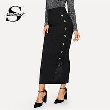 Sheinside damas Cintura elástica de punto de canalé lápiz falda negra de  cintura alta faldas de 1efefe3ad4bf