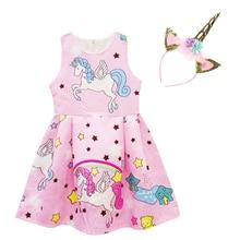 Girls' Dress Long Sleeveless Unicorn Dress