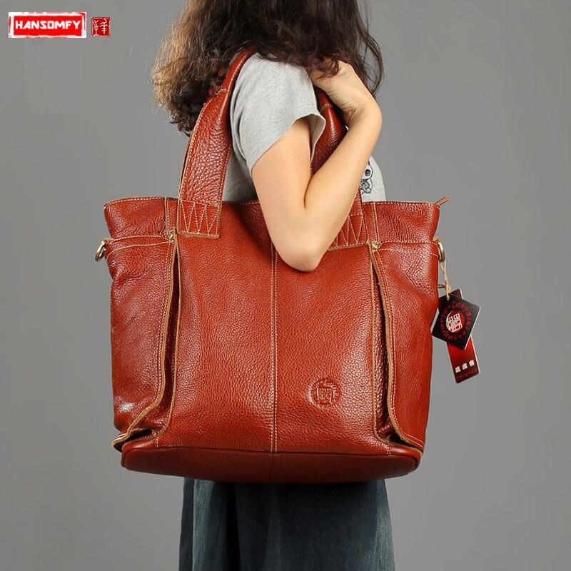 Sacs à main femmes en cuir véritable fait à la main rétro vintage femme épaule portable pochette d'ordinateur en bandoulière mode grande capacité sacs fourre-tout