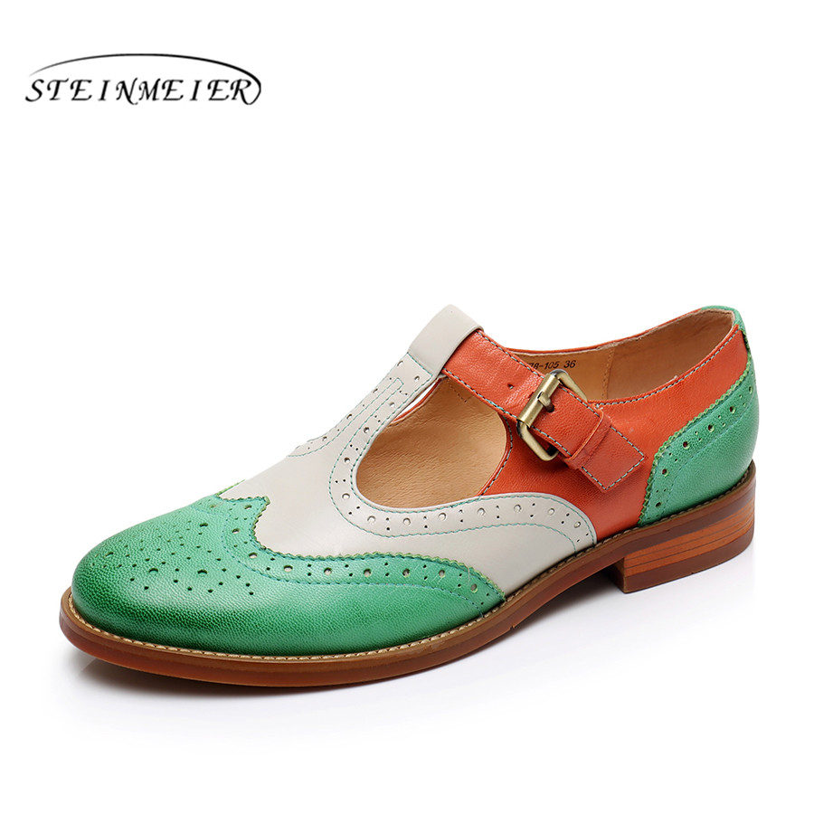 Genuine leather brogues designer yinzo vintage flats shoes handmade green red yellow oxford shoes for women 2018 spring summer genuine leather woman size 9 designer yinzo vintage flat shoes round toe handmade black grey oxford shoes for women 2017
