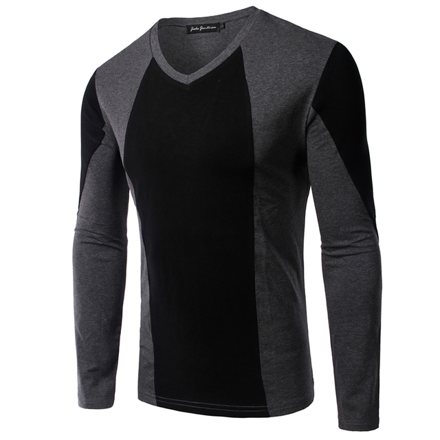 017c885e 2016 New V Neck Long Sleeve T shirt Patchwork Fashion Casual T Shirt Men  High Quality