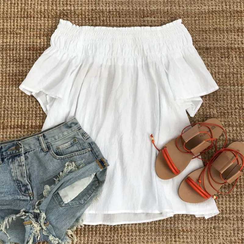 GUMPRUN 2018 Women Summer Flare Sleeve Boho Short Dress Sexy Off The Shoulder Loose White Mini Dresses Casual Beach Vestidos 9