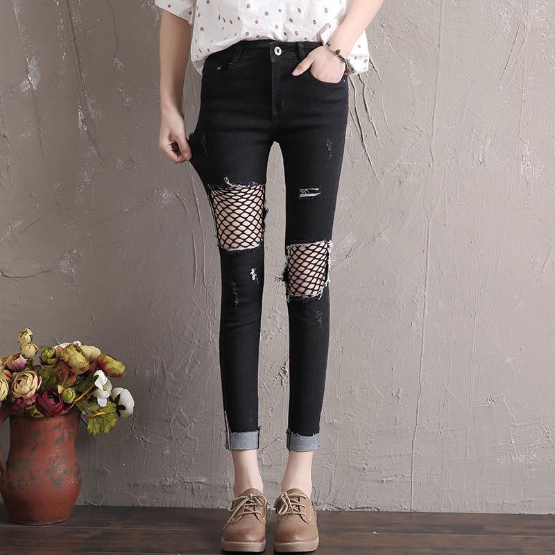 Spliced Mesh Black Fishnet Ripped Jeans Women Denim Pencil Pants Cool Vintage Cuffs Jeans Slim Mid Waist Casual Skinny Trousers