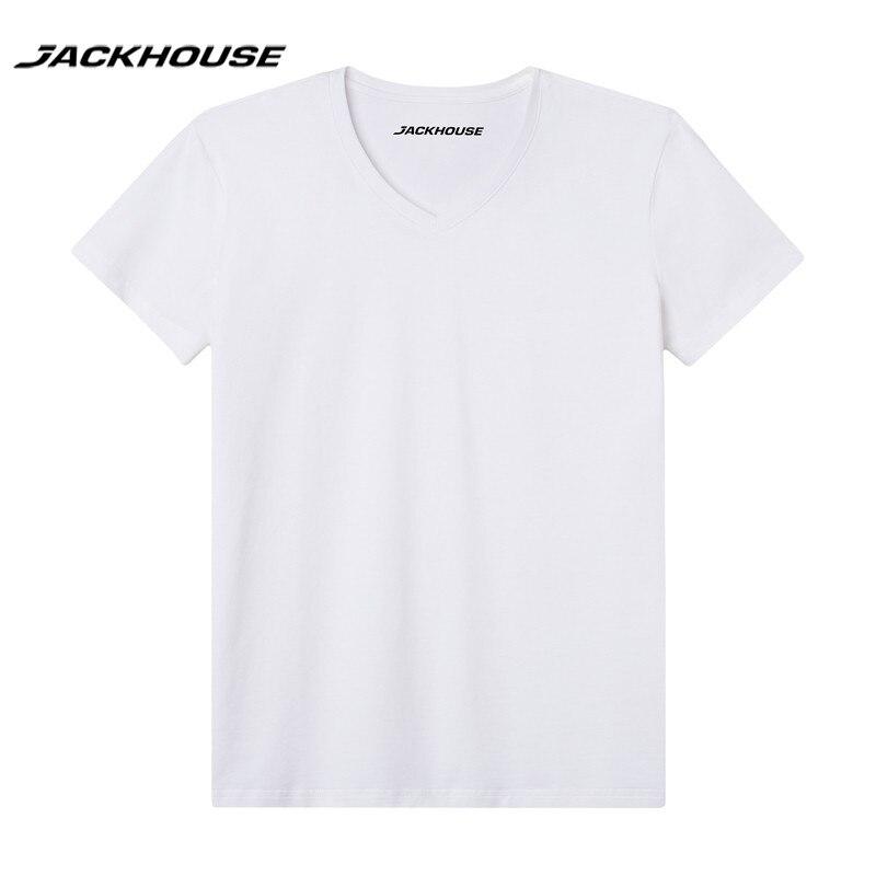 Jackhouse 1 개 2018 Fashional 여름 방수 Men V- 목 T Shirt Short SleeveHydrophobic Anti-fouling T Shirt Brand 옷