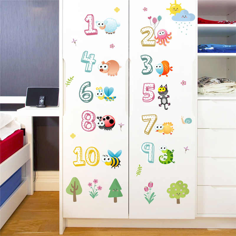 Cute Animals With Arabic Numbers Wall Stickers For Kindergarten Clroom Kids Room Home Decoration Nursery Mural Art Decal
