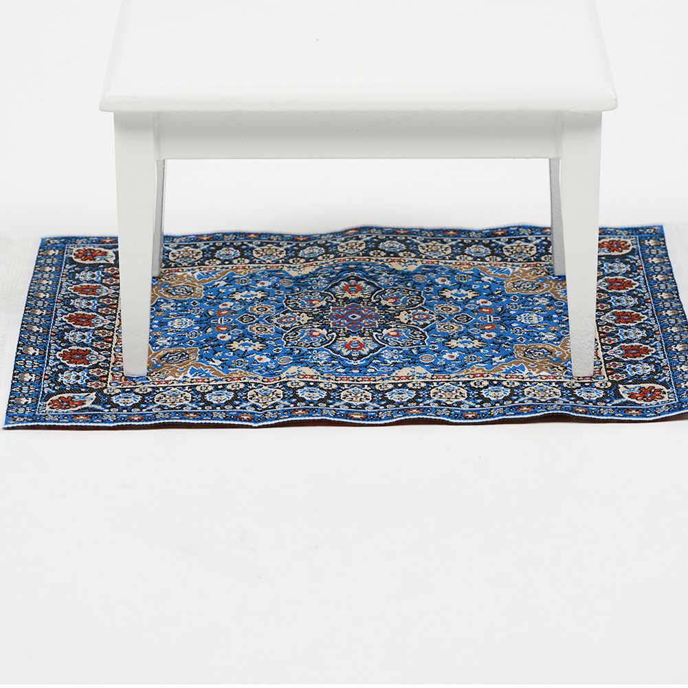 1:12 casa de muñecas modelo de alfombra en miniatura tejido puro Turquía alfombra importada juguetes esteras azules accesorios de casa de muñecas Diy