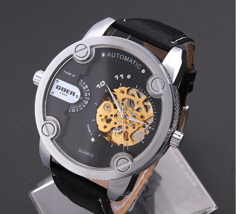 aliexpress com buy sports designer 50mm big men automatic self aliexpress com buy sports designer 50mm big men automatic self wind watches casual leather analog wristwatch cool 2 time zones clock relojes nw1828 from