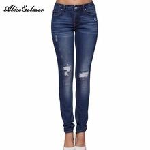 Alice & Элмер рваные джинсы женские джинсы для девочек стрейч средней талией обтягивающие джинсы женские брюки(China (Mainland))