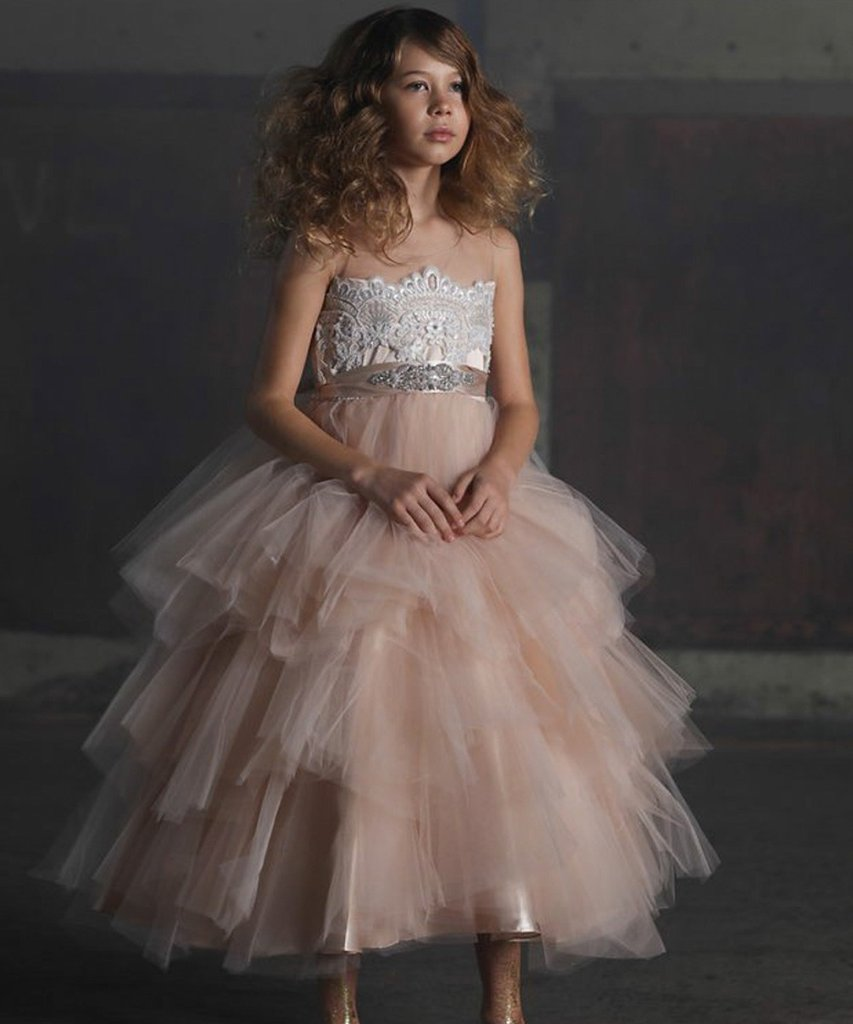 Sparkle Lace Embroidery Sheer Neckline Girl Pageant Dress Tiered Puffy Tulle Kids Ball Gowns with Beaded Satin Sash 2-14 Yrs Ols gorgeous lace beading sequins sleeveless flower girl dress champagne lace up keyhole back kids tulle pageant ball gowns for prom