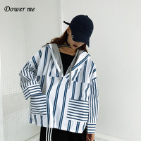 Hip Hop Fashion Patchwork Women Hooded Shirt BF Style Striped Ladies Blouse Female Simple Loose Fake