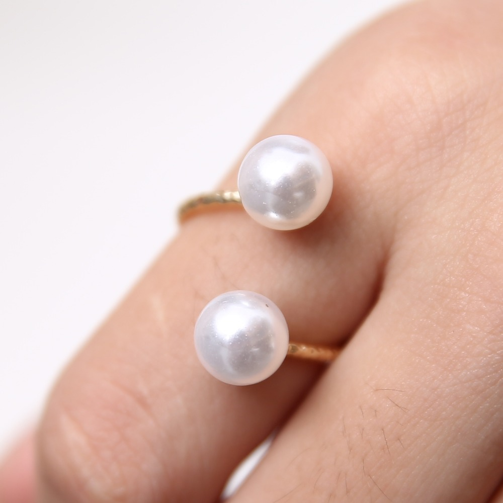 2018 gold ring double Simulated Pearl Rings women\'s cuff finger ...