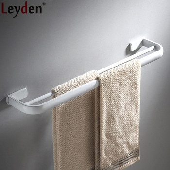 Leyden Whitened Solid Brass Wall Mounted Double Towel Bars Durable Towel Holders Bathroom Accessories Towel Rail Hangers