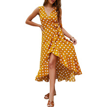 Women Summer Polka Dot Print Sexy Deep V neck Dress Sleeveless Ruffles Lace up Chiffon Dresses stylish sleeveless polka dot chiffon dress for women