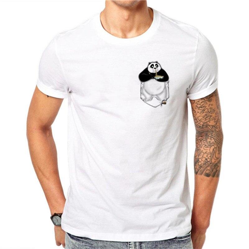 US $7 05 30% OFF|Summer Cartoon Kung Fu Panda Pocket Mini PO Design Men T  Shirts Fashion Man tshirt top tee-in T-Shirts from Men's Clothing on