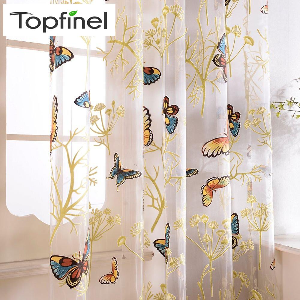 Topfinel Butterfly Curtains Tulle Window Curtain For Living Room Bedroom Kitchen Curtains Printed Sheer Voile Curtains