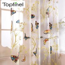 Top Finel 2016 New Butterfly Sheer Window Curtain for Living Room Bedroom Window Screen Curtain Tulle Embroidered Voile Curtains цена и фото