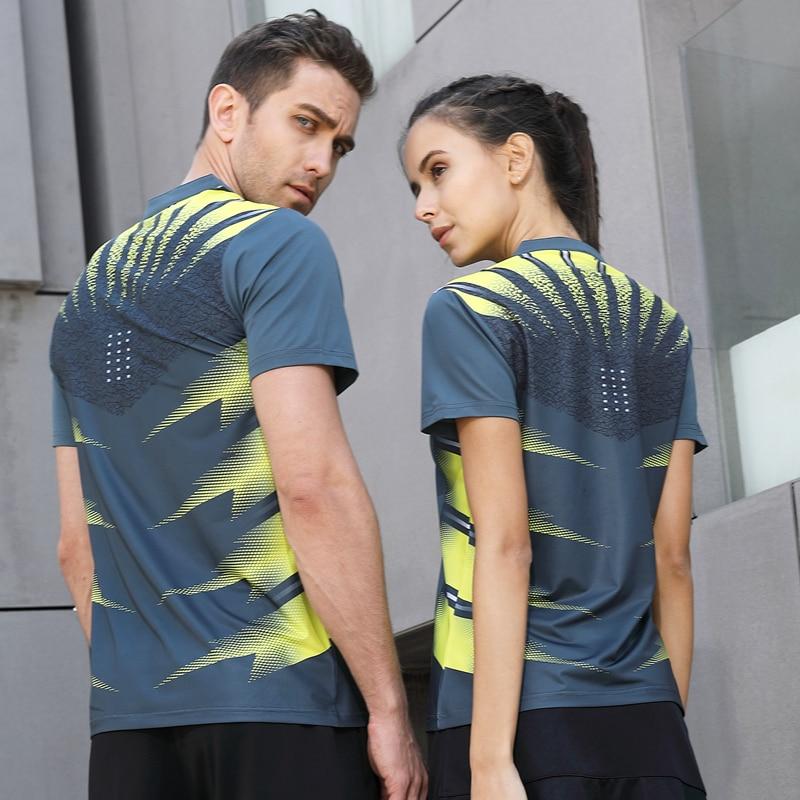 למעלה ריצת ספורט הקיץ חיצוני מהיר יבש לנשימה חולצה בדמינטון נשים גברים חובבי הריצה צוות אימון טניס שולחן משחק חולצות