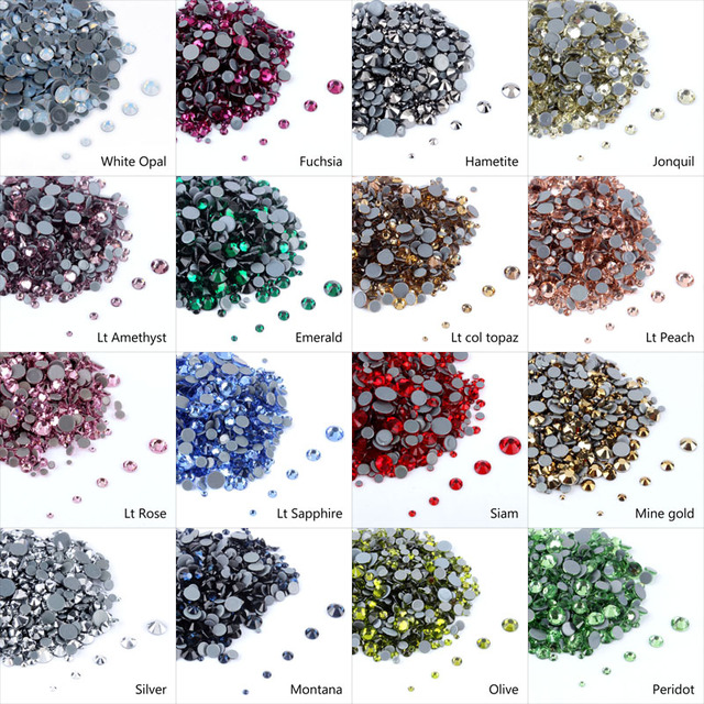Top level High Quality Hotfix Rhinestones Mix Size Crystals A++ ss6-ss30  1000pcs lot For Clothes decoration Free shipping 3f12089078b2