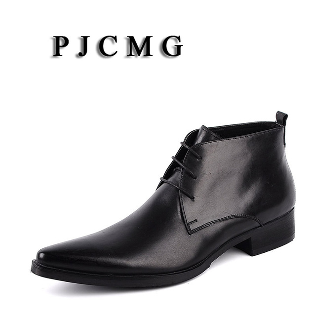 PJCMG yeni İngiliz stil siyah/kırmızı/kahverengi hakiki deri dantel-Up Martin adamın İngiltere elbise düğün motosiklet yüksek top çizmeler
