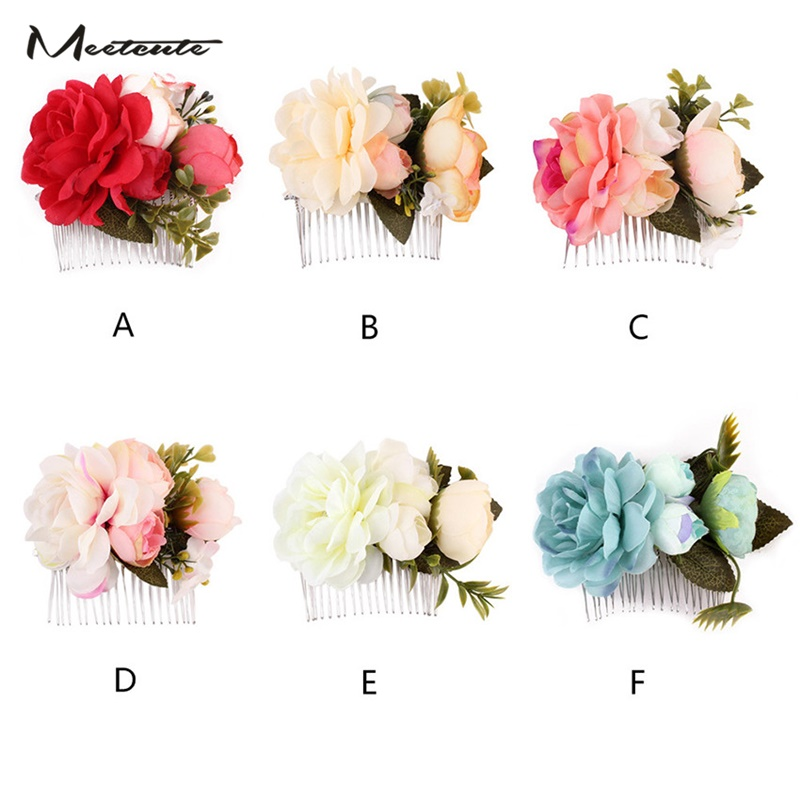 Meetcute New 6 Colors Bride Artificial Hydrangea Flower Hair Combs Hairpins Bridals Hair Jewelry Wedding Accessories Women