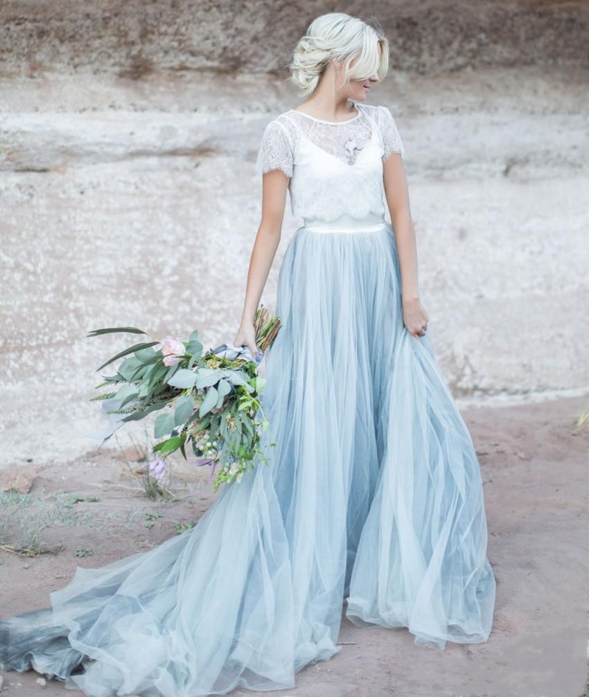 Light Blue Wedding Gown White Lace Sheer Detachable Jacket Crop Top Short Sleeves Tulle A-line Two Toned Bridal Dress Colored Br gown