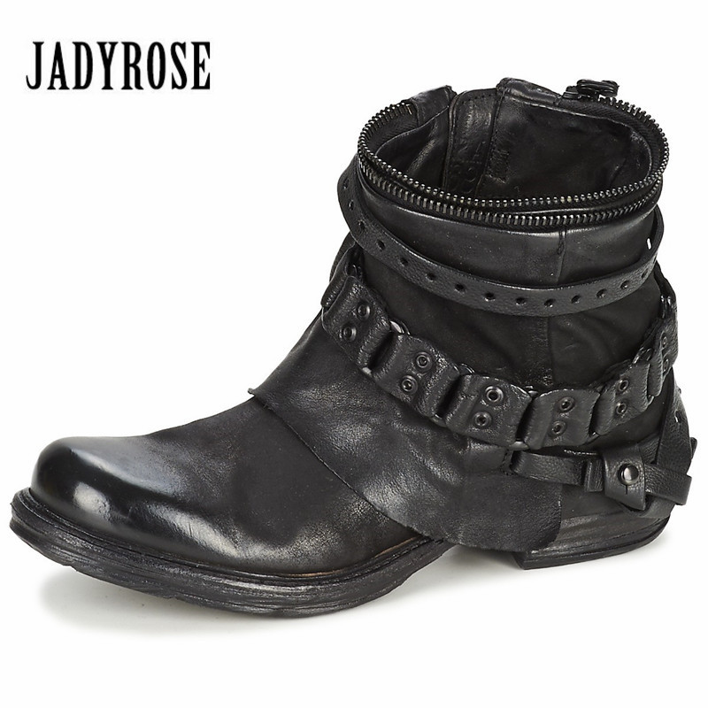 Jady Rose 2018 Fashion Black Purple Women Genuine Leather Ankle Boots Chain Decor Punk Style Booties Female Flat Botas Militares