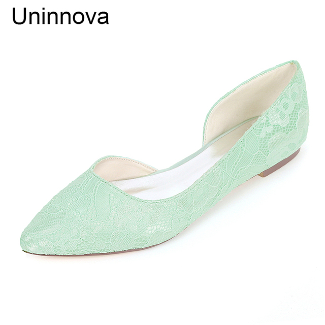 ... women s lace flat pointed toe flats wedding shoes ivory white  comfortable bride bridesmaids side opening ... b254bb5f2008