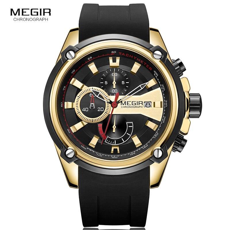 MEGIR montres à Quartz pour hommes bracelet en Silicone loisirs sport chronographe montre-bracelet pour homme horloge Relogio Masculino or noir