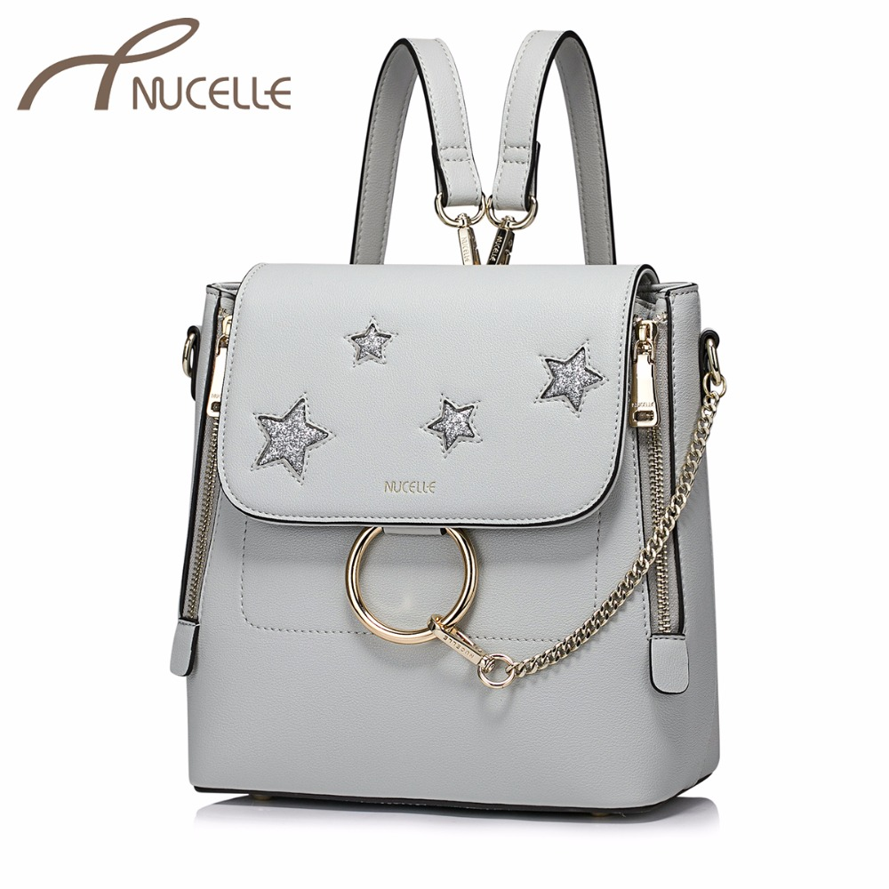 NUCELLE Ladies Fashion Star Chains Double Shoulder Bag Female Leisure High Quality Rucksack NZ4094 Women's PU Leather Backpack