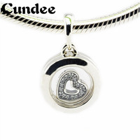 Floating Locket Beads Fits Pandora Charms Bracelets Crystal Glass Clear CZ Beads 2016 Autumn 925 Sterling