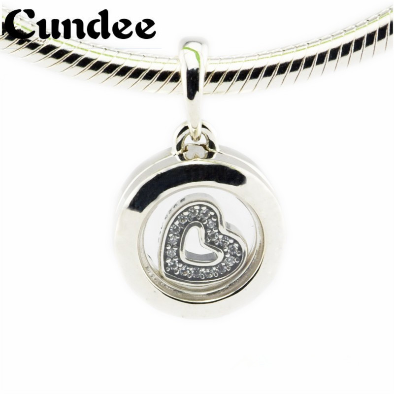 Floating Locket Beads Fits Pandora Charms Bracelets Crystal Glass Clear CZ Beads 2016 Autumn 925 Sterling Silver Charm