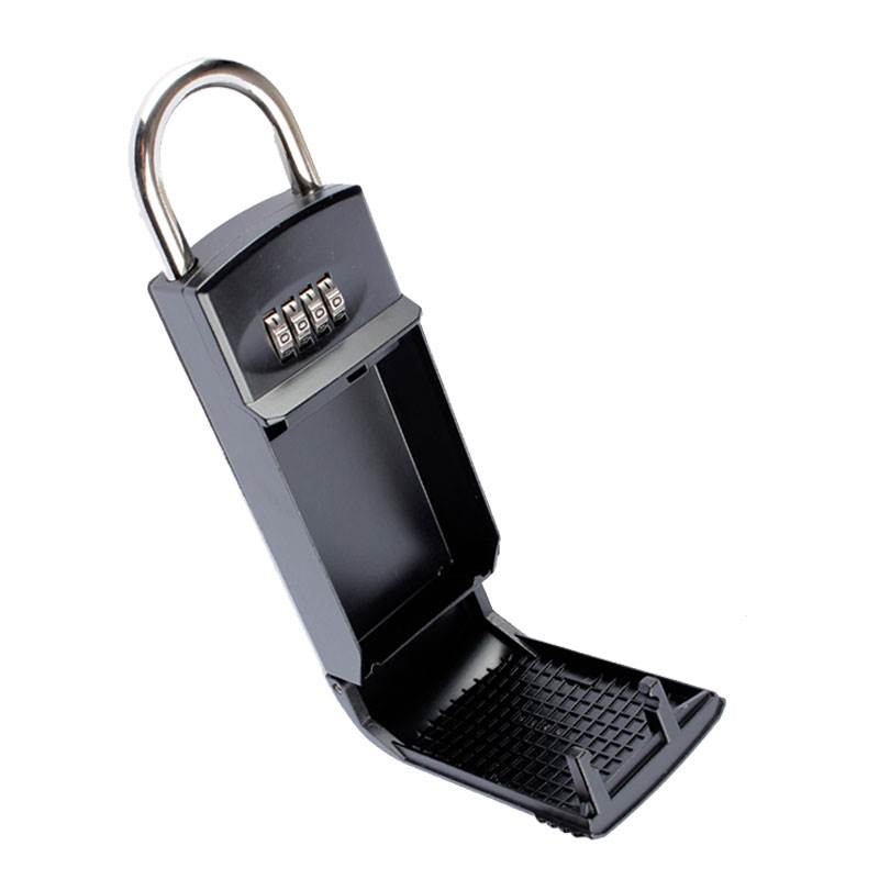 Office Secret Locks Padlock Keyed Security Gym Mechanical Password Door Lock Key Storage Box Organizer, Big Metal Size Black