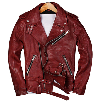 2019 Men Red Genuine Leather Motorcycle Jacket Plus Size XXXL Real Sheepskin Diagonal Zipper Leather Biker Coat FREE SHIPPING