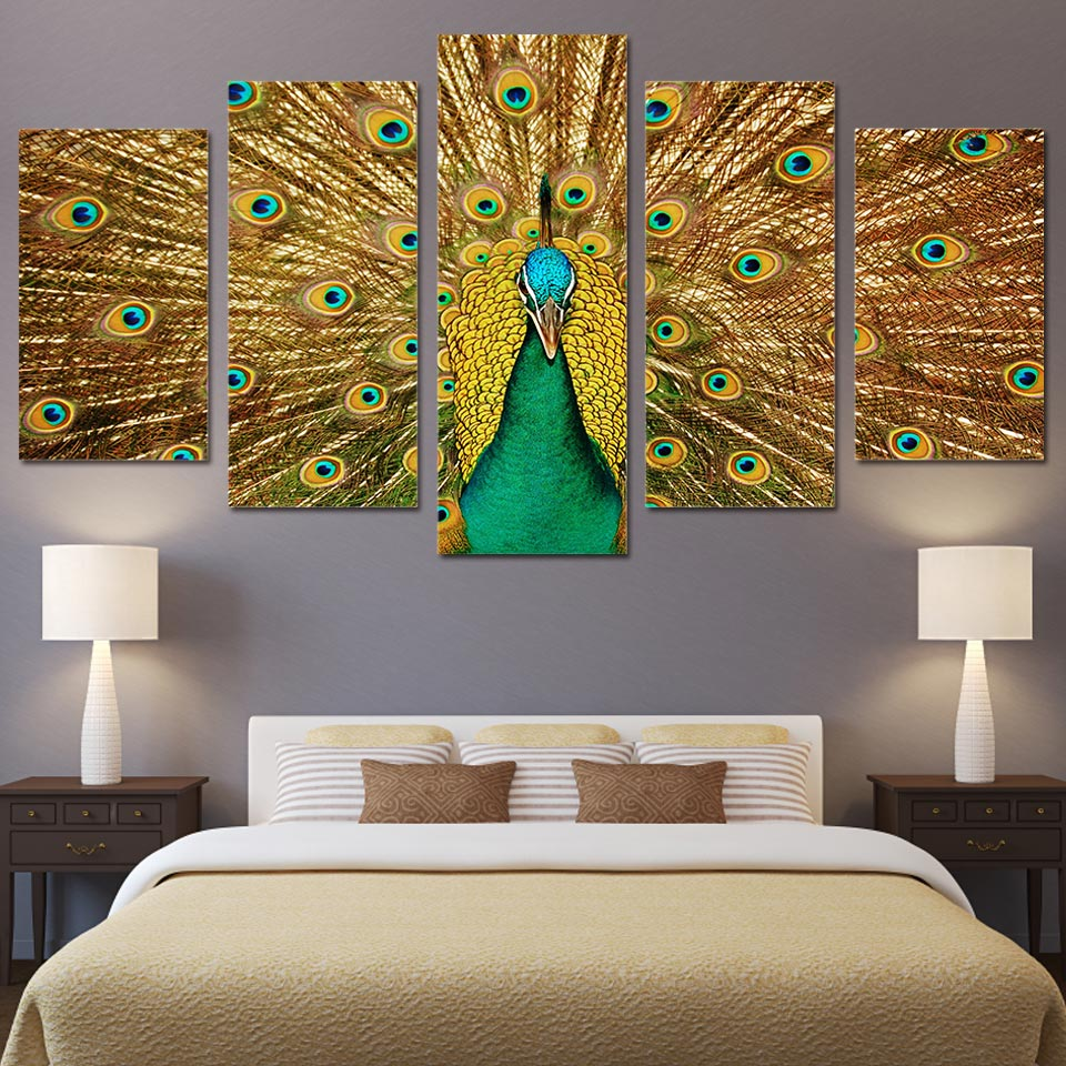 Peacock feather painting on canvas
