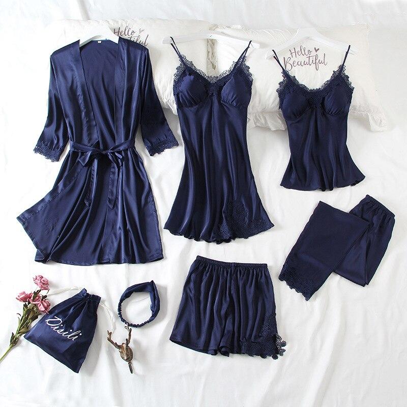 JRMISSI New Spring 7 Piece Sexy Lace Pajamas Set Women Faux Silk Lace Sling Sleeveless Shirt Shorts Summer Robe Sleepwear