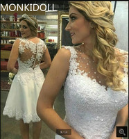 Elegant Sleeveless Short Wedding Dress Knee Length Appliques Bridal Gowns Beaded Prom Gown Lace Short Bride