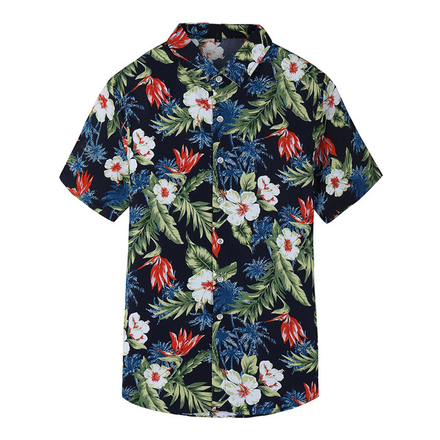 01fcf5723c2 Summer Men's Short Sleeve Floral Shirt Fashion Mens Clothing Casual Hawaiian  Flower Shirts Male Plus Size Asian Size M-7XL
