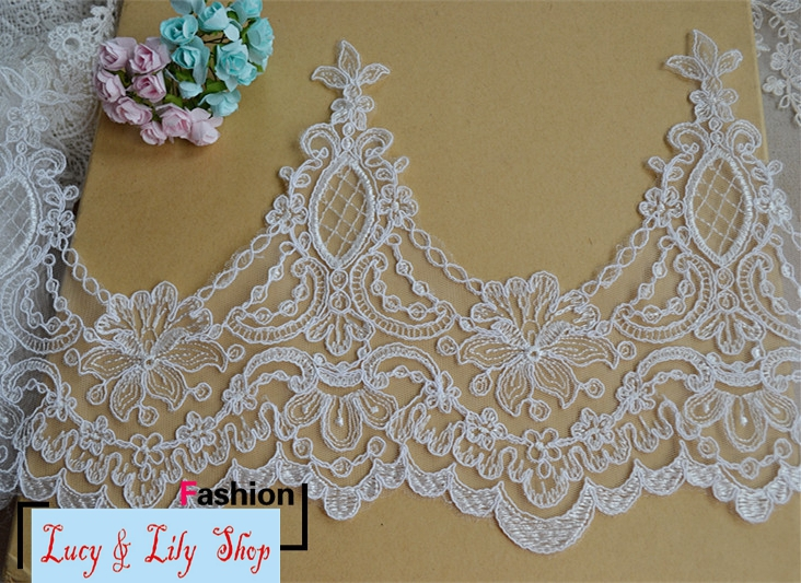 23cm Scallop Embroidered Bridal Lace Trim Ivory Scallop