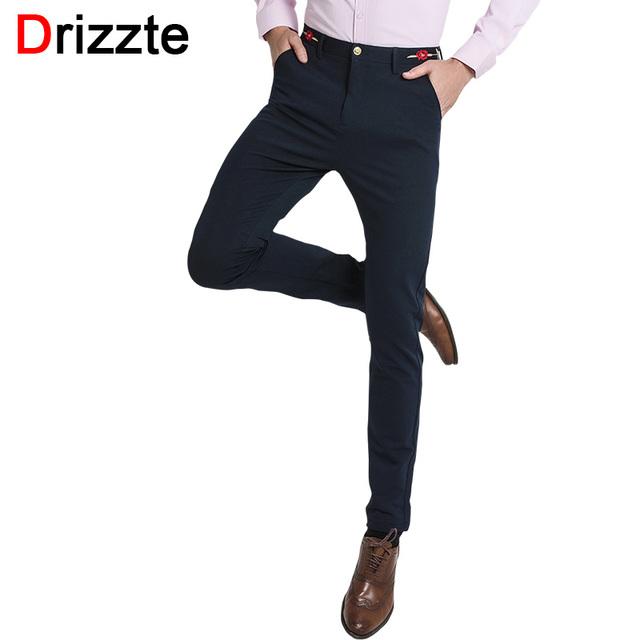 Drizzte embroid marca rosa de calidad para hombre pantalón azul de vestir pantalones delgados de la cintura para Los Hombres de Tamaño 27 28 29 30 31 32 33 34 36 38