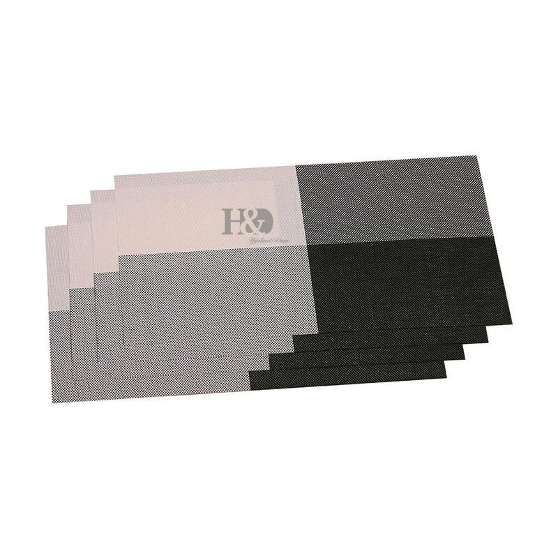 vinyl woven check placemats non slip heat resistant kitchen decoration inch set of