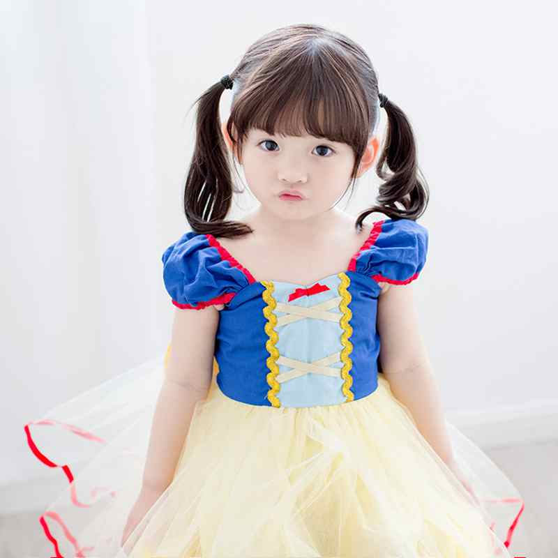 Oklady Hot Sale Summer Children Girl Snow White Princess Dress Chlidren Clothes Cute Bow Short Kids Party Costume Ball Gown