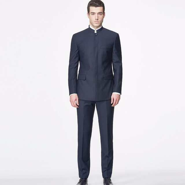 4008bb86f Tailor Made Men Suits Blazer Chinese Style Mandarin Collar Fashion Suits  High Custom Made Suits jacket+pants-in Blazers from Men's Clothing on ...